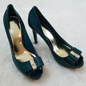 **Coach Starla Sz 8.5 Teal Patent Leather Heels